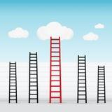 由云彩成功企业概念决定的红色梯子 免版税图库摄影