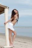 由佩带微型裙子和胸罩的海的亭亭玉立的妇女姿势 库存图片