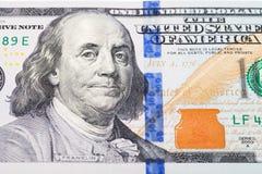 由关闭的新的100美元 免版税库存照片