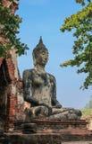 由具体古老坐的菩萨做在Ayuthaya,泰国 免版税库存照片