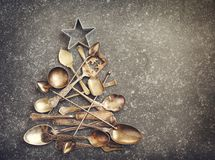 由利器做的抽象圣诞树 免版税图库摄影