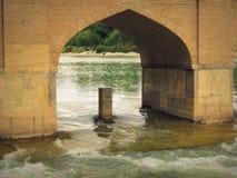 由历史Safavid Chubi桥梁曲拱的伊斯法罕Zayande河 免版税库存图片