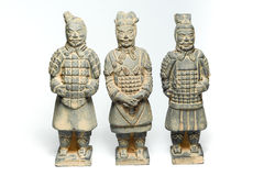 由古老瓷的三个赤土陶器战士 免版税图库摄影