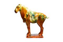 由古老瓷的三色特性瓦器马 免版税库存照片