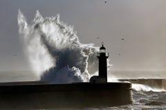 由后面照的剧烈的波浪 图库摄影