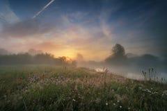 由后面照的有雾的横向夏天阳光日出 7月黎明 在河的Figgy日出 库存图片