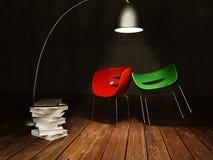 由咖啡桌的红色和绿色椅子 库存照片