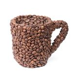 由咖啡豆做的一杯咖啡 免版税库存图片