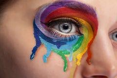 由哭泣颜色的彩虹组成在眼睛 免版税库存照片