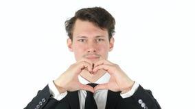 由商人的心脏形状在白色背景 免版税库存图片
