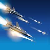 由喷气式歼击机的空中炮击 免版税库存照片