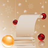 由圣诞节的金卷 免版税库存图片