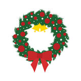 由圣诞节花圈的圣诞节概念  免版税库存图片