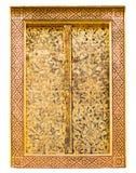 由在公开寺庙的木头做的窗口绘与泰国样式在白色背景 免版税图库摄影