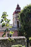 由城堡或老堡垒的小教堂在科孚岛希腊海岛上的科孚岛镇  免版税库存照片