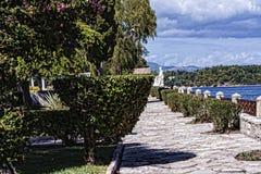由城堡或老堡垒的庭院在科孚岛希腊海岛上的科孚岛镇  免版税库存照片