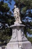 由城堡或老堡垒的雕象在科孚岛希腊海岛上的科孚岛镇  免版税库存图片