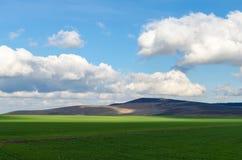 由大云彩的绿色部份领域阴影 免版税库存照片