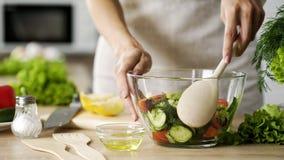 由大木匙子,传统家庭食谱照顾在玻璃碗的混合的沙拉 库存图片