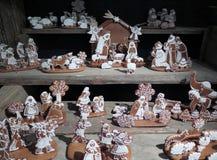 由姜饼做的诞生场面(伯利恒教堂在布拉格) 免版税库存照片