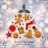 由姜饼曲奇饼做的圣诞节抽象树 与bokeh光的背景 向量 库存照片