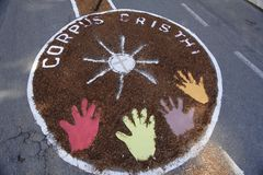 由宽容忠实的色的地毯科珀斯克里斯蒂队伍的 图库摄影
