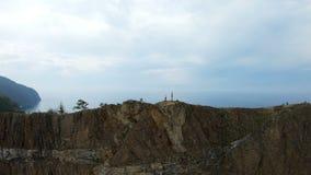 由寄生虫的Selfie在一个高峭壁边缘 影视素材
