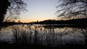 由小自然湖的前光 免版税库存图片