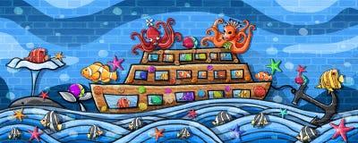 由小船墙壁油漆的水下的世界旅行 皇族释放例证