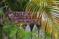 由尖桩篱栅的幽默土气木标志在基韦斯特岛由tropcal植物围拢了说帮助地方睡眠采取一只鸡与 免版税库存照片