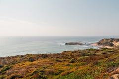 由峭壁的美丽的海滩在加利福尼亚 免版税图库摄影