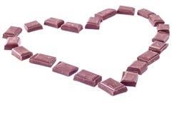 由巧克力块做的心脏  库存照片