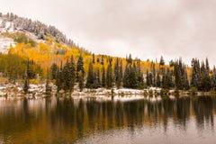 由布赖顿滑雪胜地的银色湖 免版税库存照片