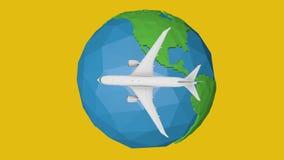 由平面抽象动画的蓝色行星地球概念旅行 向量例证