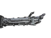 由废金属做的靠机械装置维持生命的人雕塑的手被隔绝 免版税库存照片