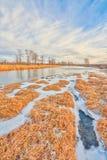 由弓河,卡尔加里的冬天 免版税库存图片