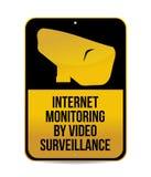 由录影监视标志的互联网监视 免版税库存照片