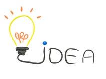 由彩色塑泥做的想法电灯泡查出 免版税库存照片