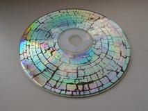 由微波光芒的被毁坏的CD 图库摄影