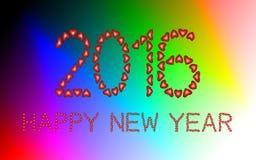2016年由心脏做的新年快乐 向量例证