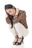 由性感的亚洲秀丽的矮小姿势 图库摄影
