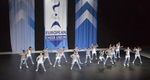 由意大利做的队执行在ECU欧洲啦啦队欢呼冠军2018年 免版税库存图片