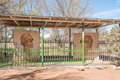 由意大利战争囚犯的历史的壁画在Koffiefontein 图库摄影