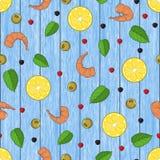 由手拉的柠檬做的无缝的样式,虾,胡椒 蓝色木背景 对包装,广告,咖啡馆的菜单 向量例证