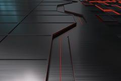 由掠过的金属做的未来派技术或工业背景塑造与发光的线和元素 库存照片