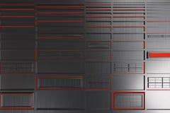 由掠过的金属做的未来派技术或工业背景塑造与发光的线和元素 图库摄影