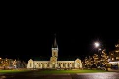 由教会的照明在Borgholm,瑞典 库存图片