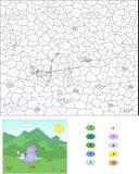 由数字教育比赛的颜色孩子的 与ne的紫色龙 库存照片