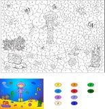 由数字教育比赛的颜色孩子的 海洋的fl潜水者 免版税库存图片