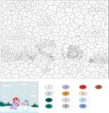 由数字教育比赛的颜色孩子的 紫色龙和裁减 库存图片